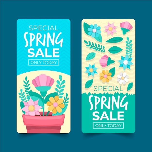 Flat design spring sale banner collection design Free Vector