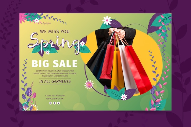 Flat design spring sale banner template Free Vector