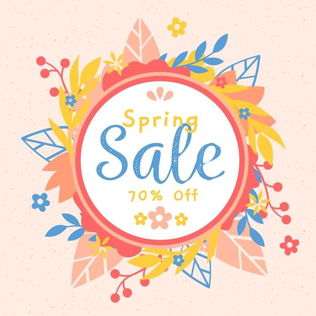 Flat design spring sale banner Free Vector