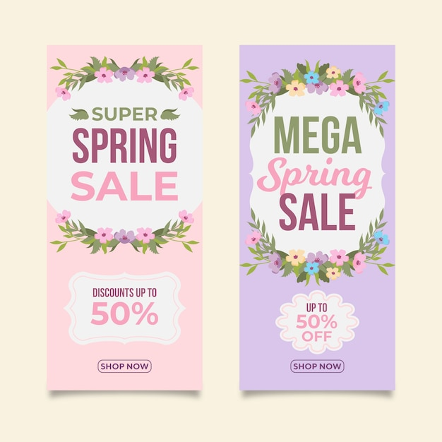 Flat design spring sale banners pack Free Vector