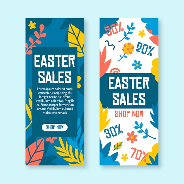 Flat design spring sale banners set Free Vector