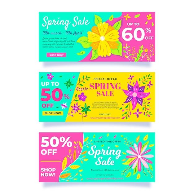 Flat design spring sale banners set Free Vector
