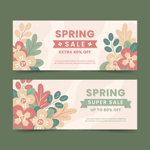 Flat design spring sale banners Free Vector