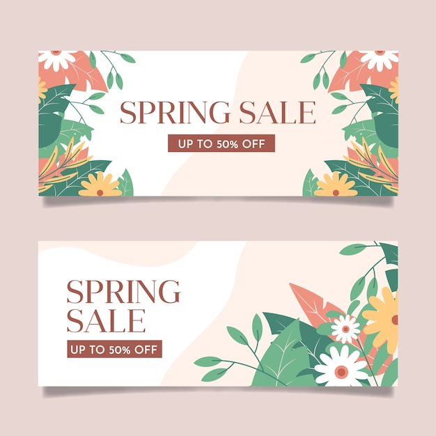 Плоский дизайн весенних распродаж баннеры Бесплатные векторы