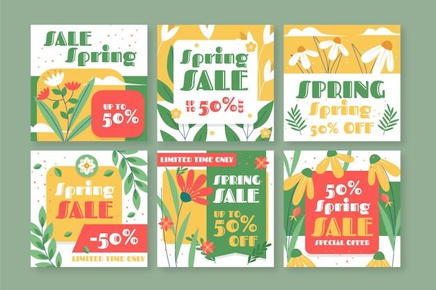 Collezione di post di instagram di vendita primavera design piatto Vettore gratuito