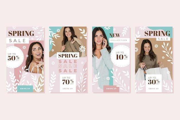 Flat design spring sale instagram stories collection Free Vector
