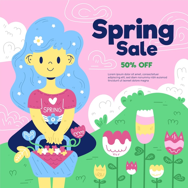 Flat design spring sale lettering with cute illustration of girl gardening Free Vector