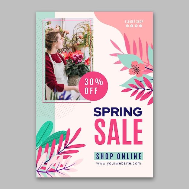 평면 디자인 봄 판매 수직 전단지 서식 파일 무료 벡터