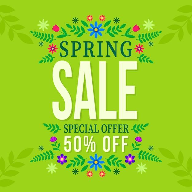 Flat design spring sale Free Vector