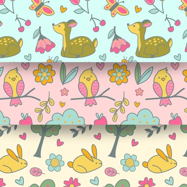 Modello senza cuciture di primavera design piatto con animali e uccelli Vettore gratuito