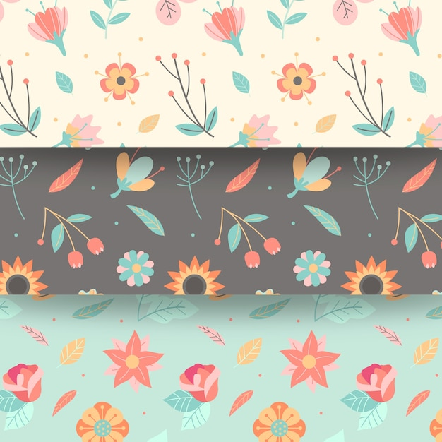 花とフラットなデザイン春シームレスパターン 無料ベクター