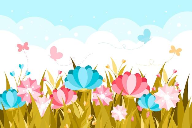 Tema primavera design piatto per carta da parati Vettore gratuito