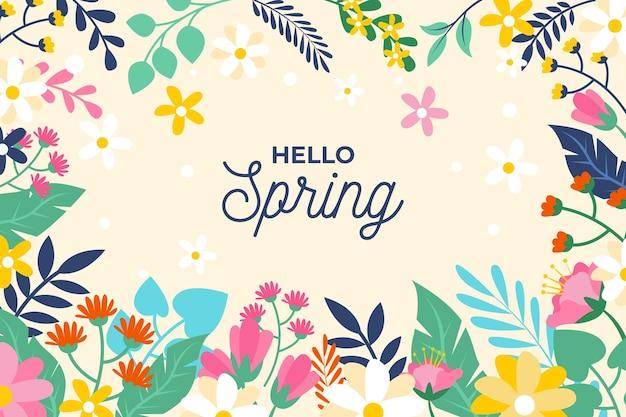Flat design spring wallpaper Free Vector