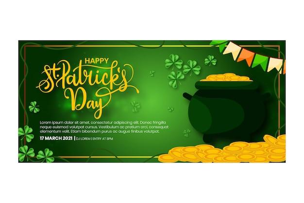 Design piatto st. banner del giorno di patrick Vettore gratuito