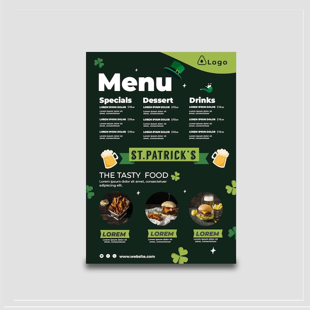 Flat design st. patrick's day menu Free Vector