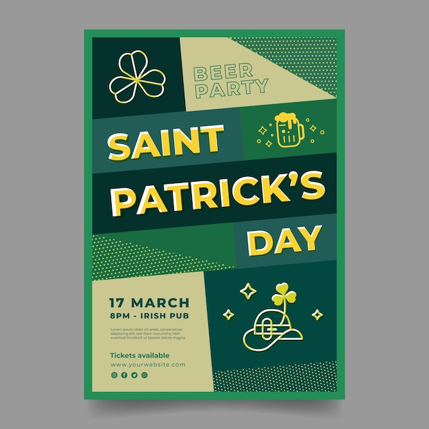 Flat design st. patrick's day poster template Free Vector