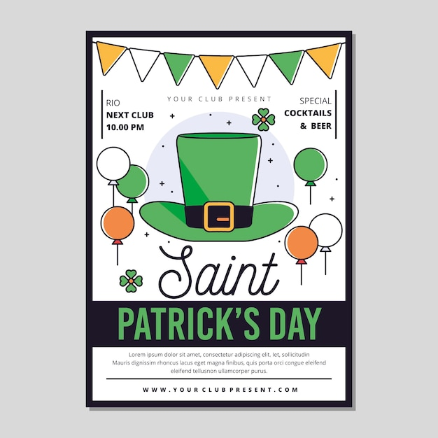 Flat design st. patrick's day poster Free Vector