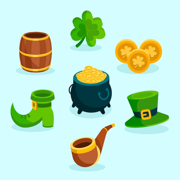 Flat design st. patricks day element collection concept Free Vector