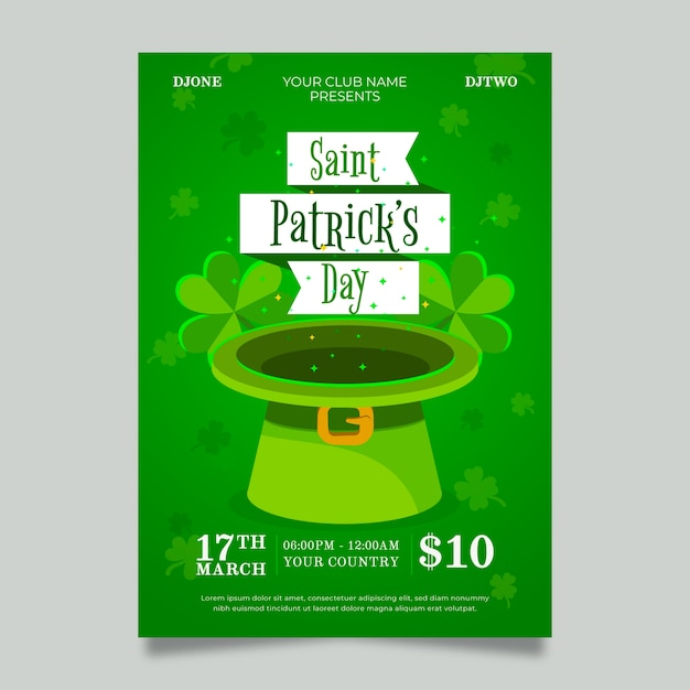 Flat design st. patricks day flyer template theme Free Vector