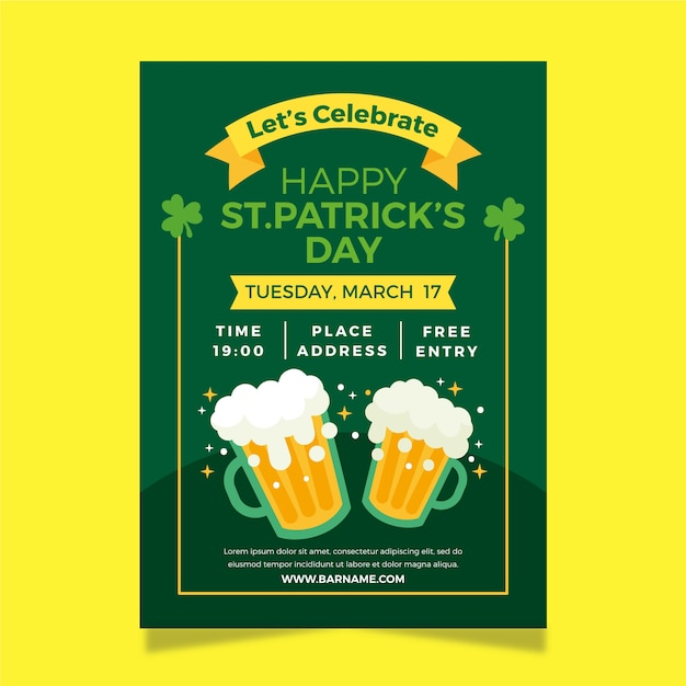 Flat design st patricks day poster template Free Vector