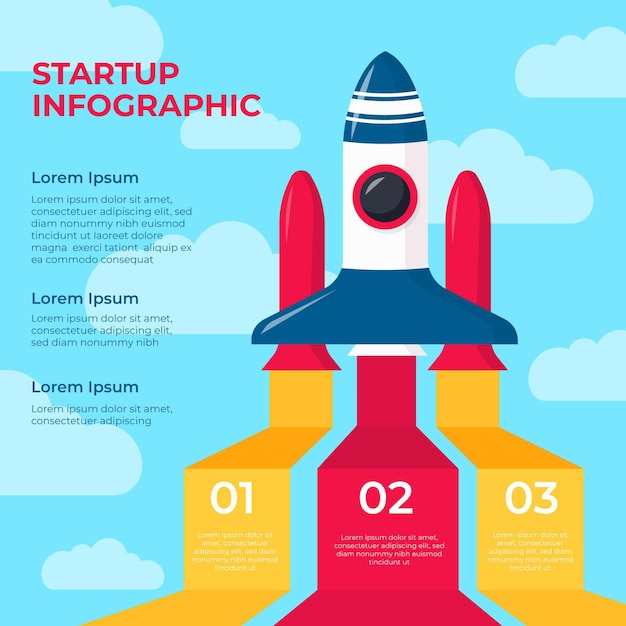Flat design startup infographic with rocket Free Vector