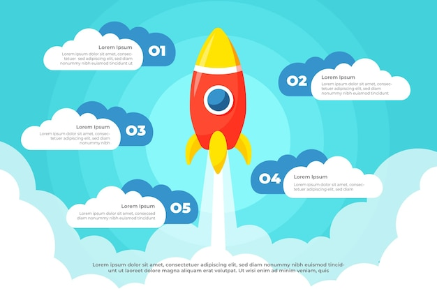 Flat design startup infographic Free Vector