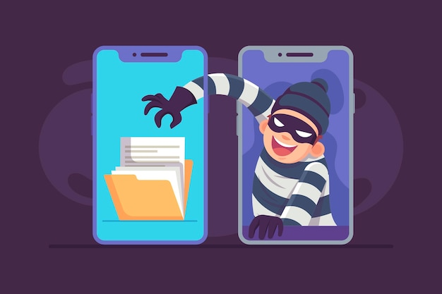 Flat design steal data illustration with thief and phones Free Vector