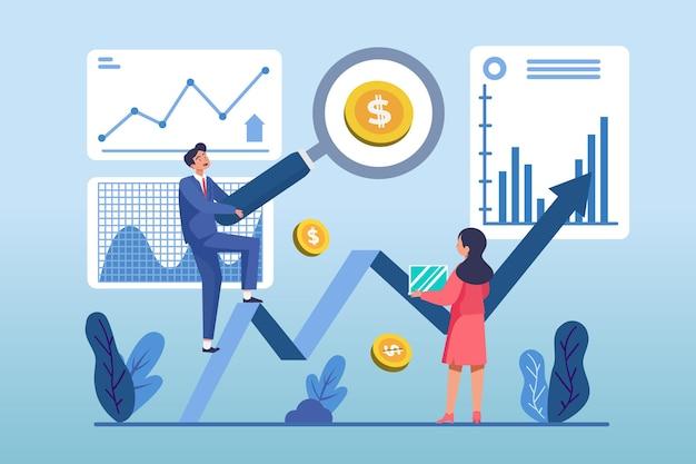 Плоский дизайн иллюстрация анализа фондового рынка Premium векторы