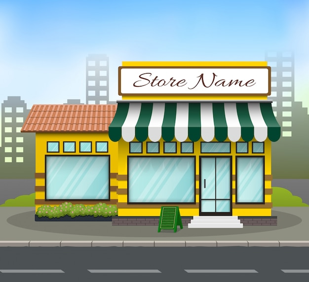 Flat design store front with place for store name Premium Vector