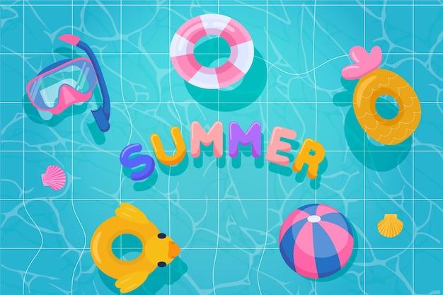 フラットデザイン夏背景デザイン 無料ベクター