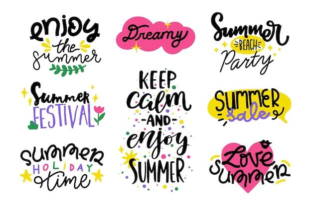 Плоская коллекция летних значков Бесплатные векторы