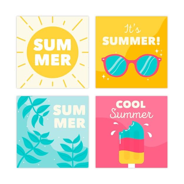 Плоский дизайн коллекции летних открыток Бесплатные векторы