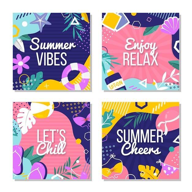 フラットなデザインの夏カードコレクション 無料ベクター