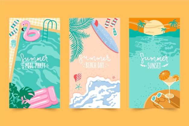 Collezione di carte estive design piatto Vettore gratuito