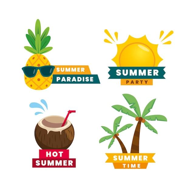Плоский дизайн набор летних этикеток Бесплатные векторы
