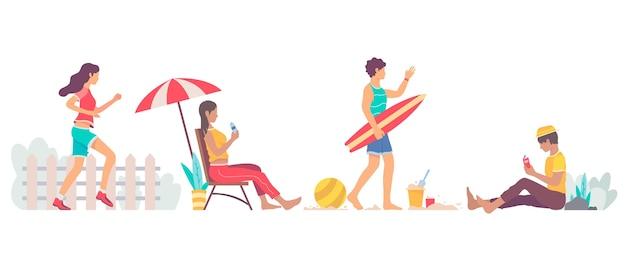 フラットなデザインの夏の野外活動セット 無料ベクター