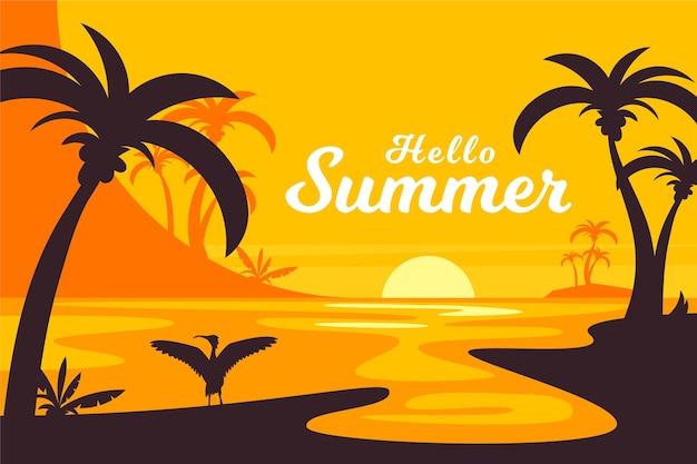 Плоский дизайн летних пальм на фоне заката Бесплатные векторы