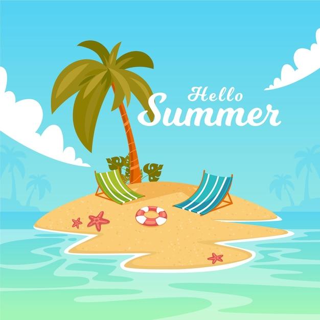 Flat design summer palms on an island background Free Vector