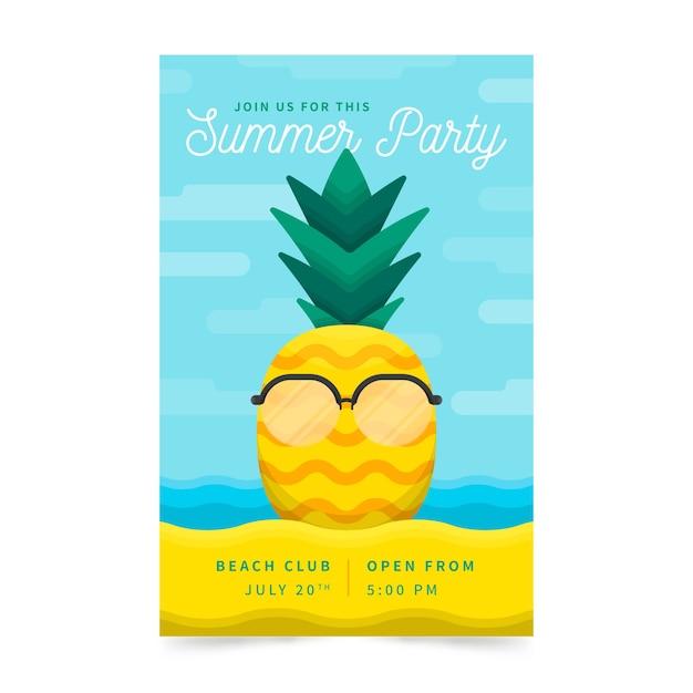 평면 디자인 여름 파티 전단지 서식 파일 무료 벡터