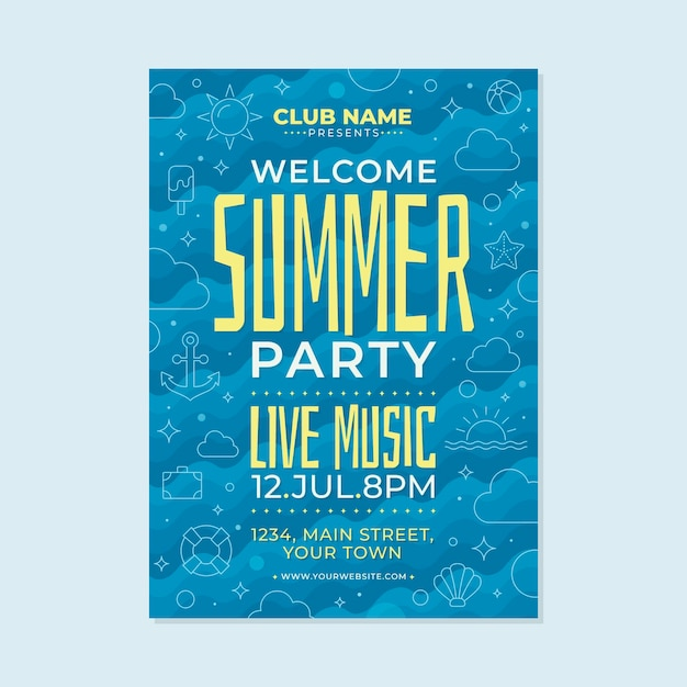 Flat design summer party poster template Free Vector