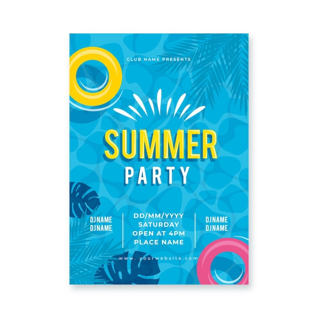 Flat design summer party poster Free Vector