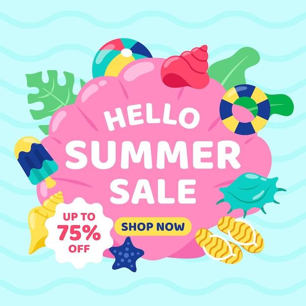 Плоский дизайн концепции летней продажи Бесплатные векторы