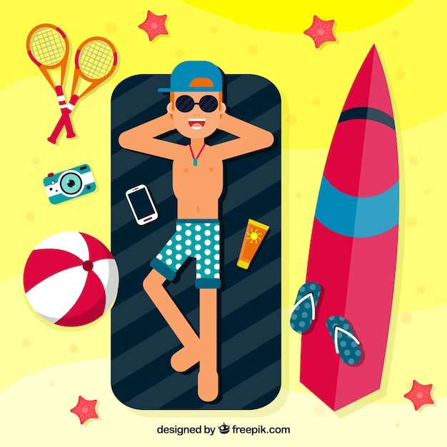 Flat Design Character Download : Sunbathing vectors photos and psd files free download
