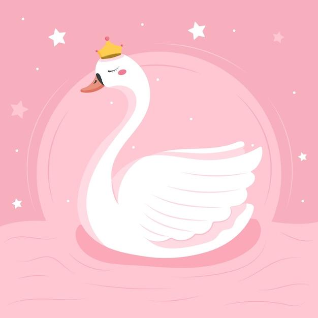 Illustrazione di principessa cigno design piatto Vettore gratuito