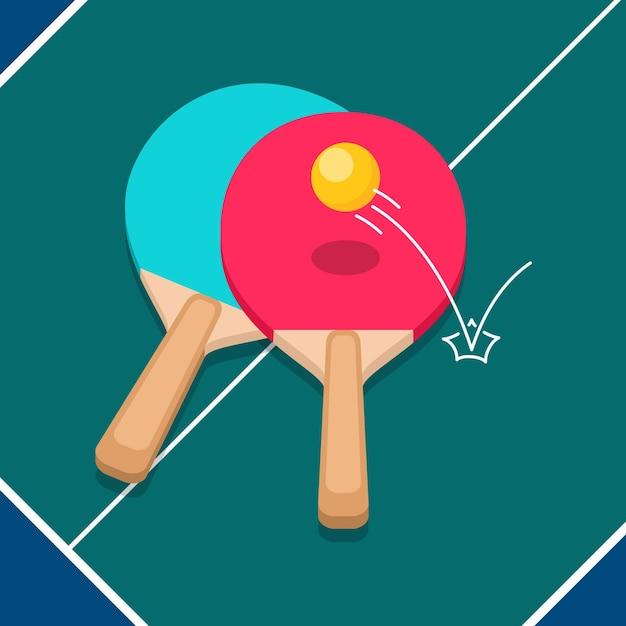 Flat design table tennis concept Free Vector