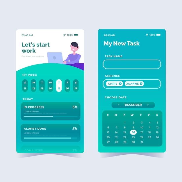 Flat design task management app collection Free Vector