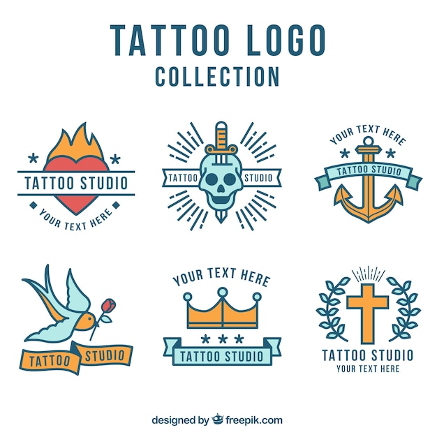 Flat design tattoo logo collection Free Vector