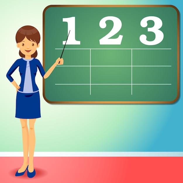 Flat design teacher with black board Premium Vector