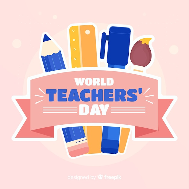 Flat design teachers day background Free Vector