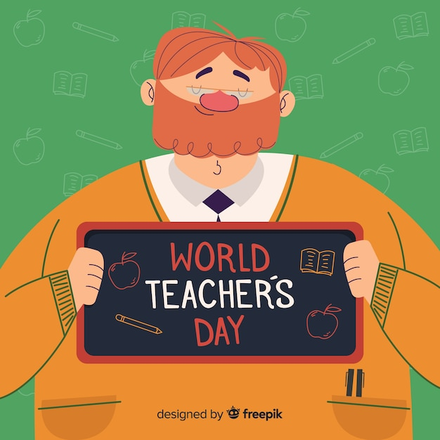 Flat design teachers day background Free Vector